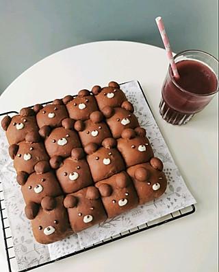 小酒晕晕的自制小熊🐻巧克力挤挤小面包