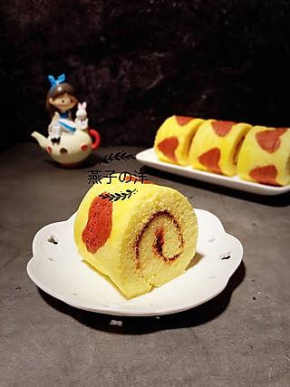 燕子的洋的蓝莓酱爱心蛋糕卷