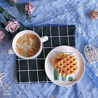 大泽泽嘛嘛的小红锅版芝麻海苔华夫饼