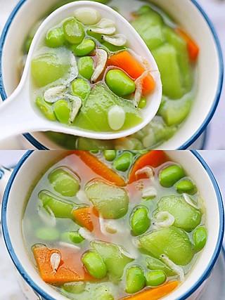 西蘭的⭕️低脂营养‼️鲜甜可口的👉丝瓜毛豆虾米汤🔥美容又补钙‼