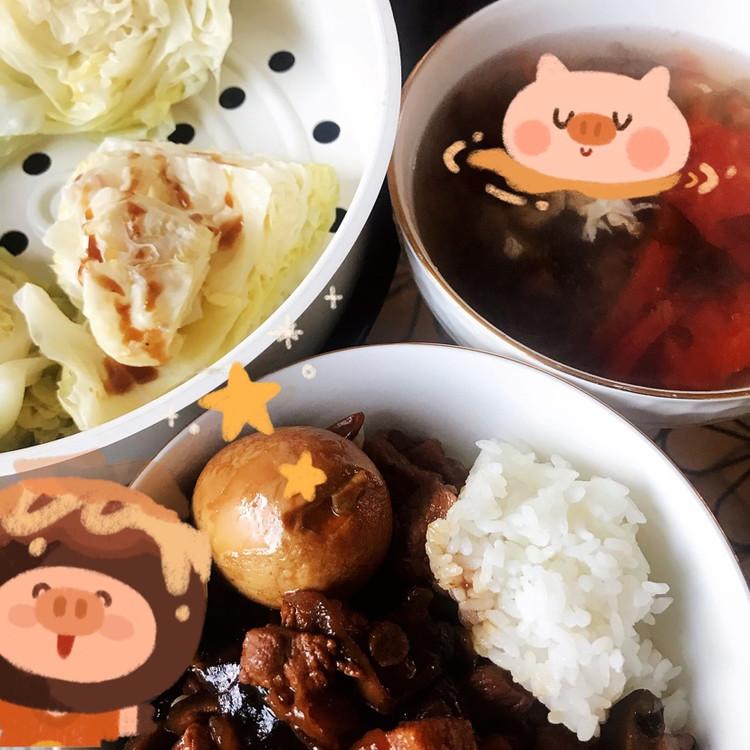 卤肉饭 西红柿紫菜蛋花汤 清蒸圆白菜图1