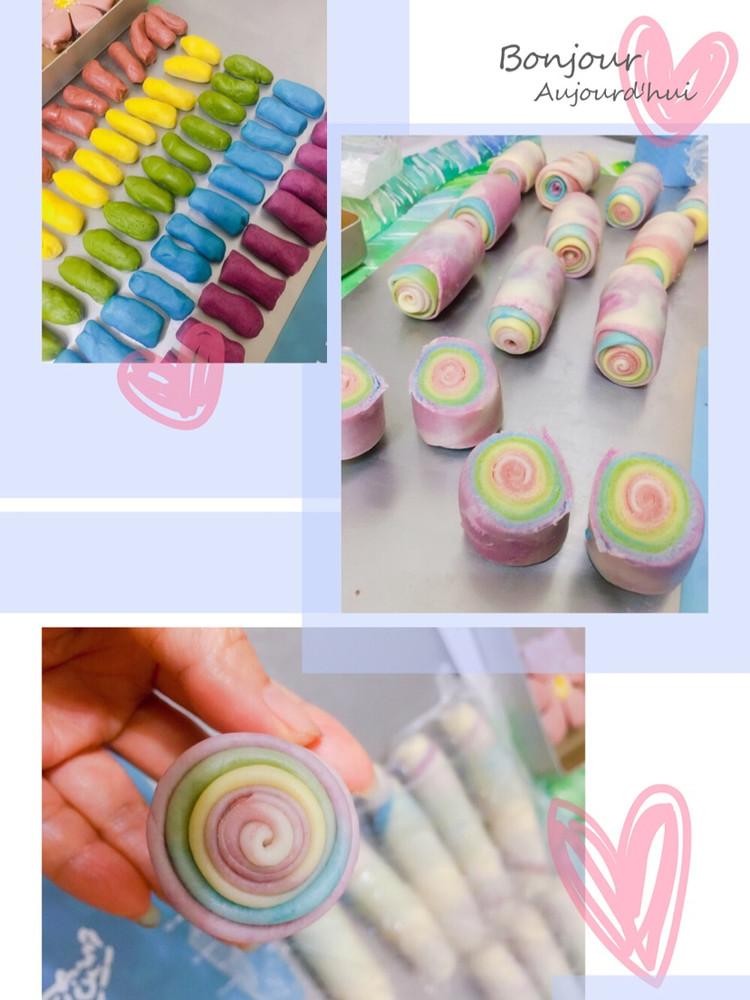 用爱划一道彩虹!颜值高的彩虹酥,螺旋酥,五彩酥,你吃过了吗?图8