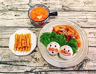 咾公親個←的Day78,面包超人童趣盖饭(鱿鱼🦑)➕烤玉米粒➕糖水杏