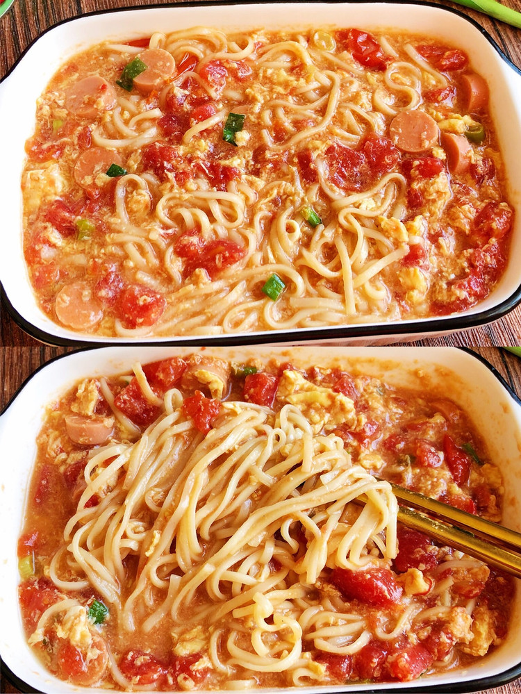 🌈10分钟快手早餐 简单巨好吃的番茄浓汤面图1