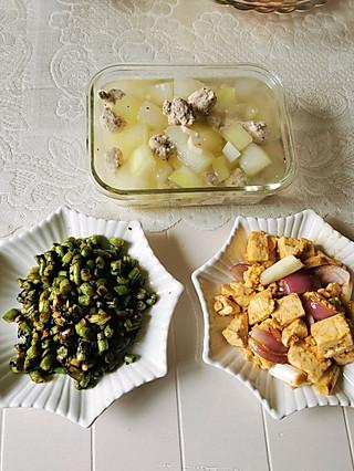 函宝儿桐宝儿妈的冬瓜丸子汤~橄榄菜炒豆角~双葱豆腐