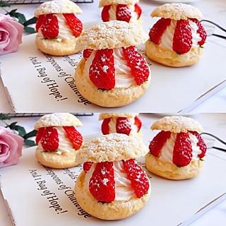 英里妃的网红草莓奶油泡芙