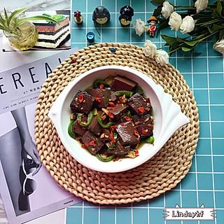 简单的午餐:剁椒烧鸭血+凉拌红薯🍠叶