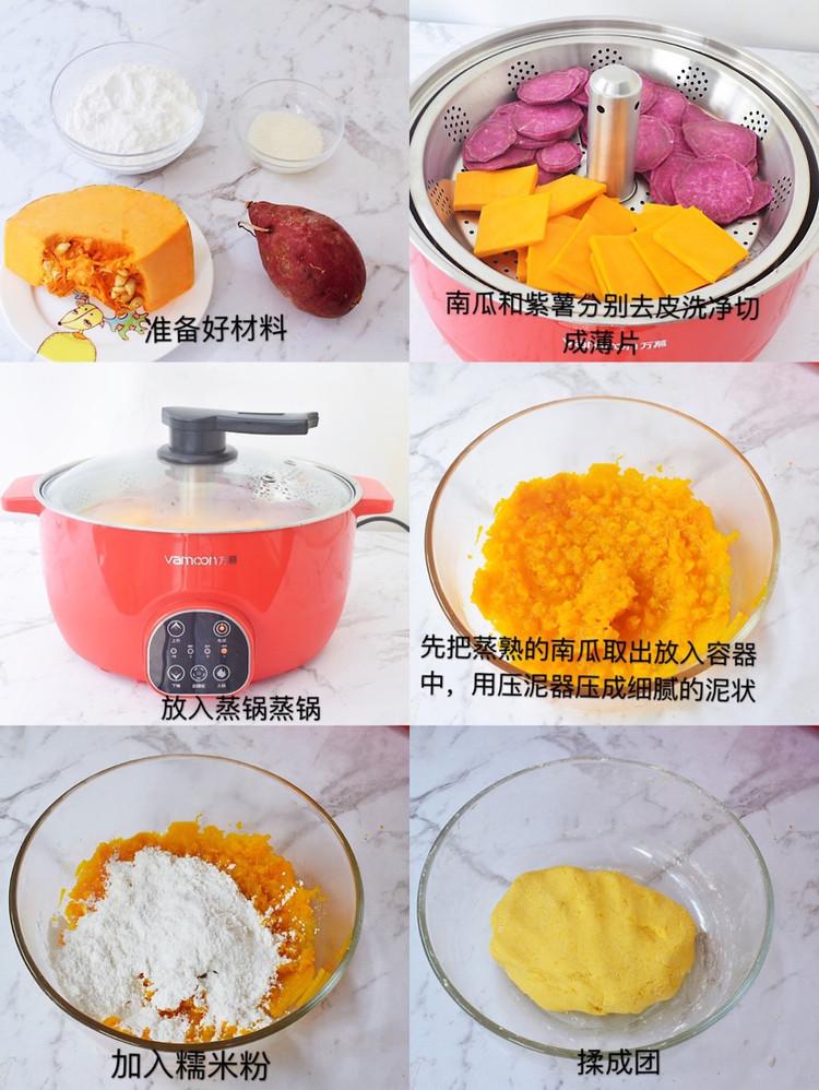 无需烤箱❗️好吃到爆的南瓜紫薯糯米球㊙️简单零失败图4