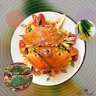 有趣的吃货灵魂的姜葱炒三眼蟹
