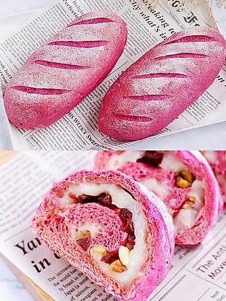 风意画的㊙️手把手教你自制粉粉嫩、巨好吃料超足的火龙果麻薯面包