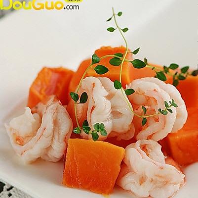 木瓜炒虾球的做法