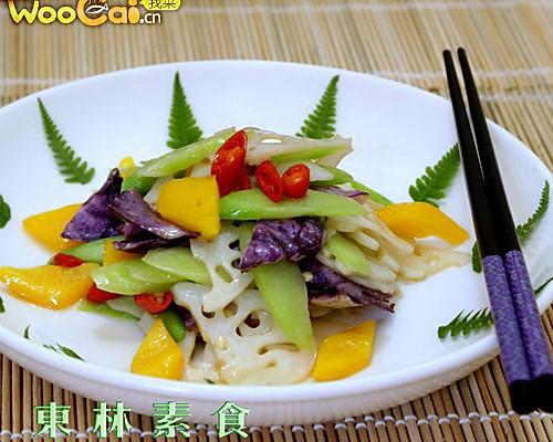 紫包菜炒藕片的做法