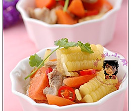 胡萝卜玉米排骨汤--防过敏的做法