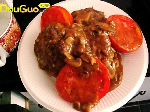 汉堡排烤蕃茄配蘑菇酱的做法