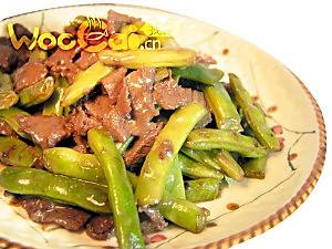 干煸牛肉四季豆的做法