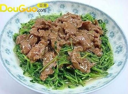 沙茶牛肉豆苗的做法