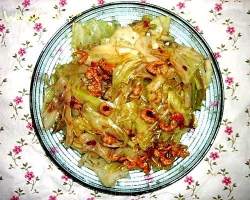 海米圆白菜的做法