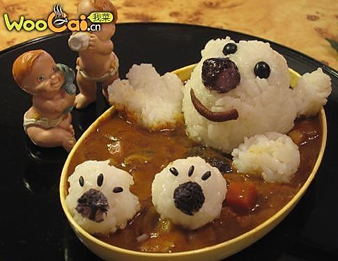 可爱熊宝宝沐浴咖喱饭的做法