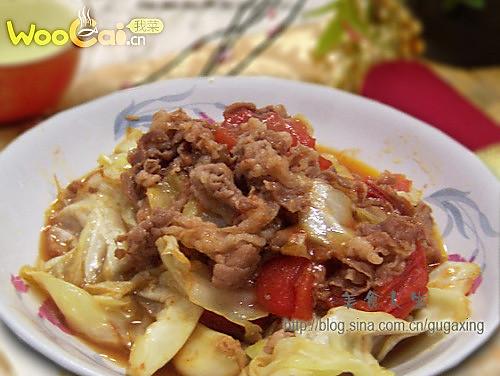 圆白菜炒羊肉的做法
