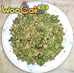 榄菜肉末炒豆角的做法
