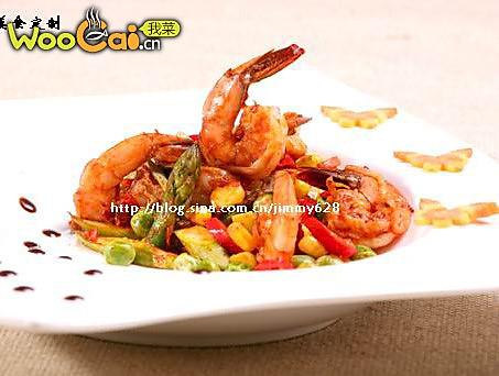 芦笋玉米炒鲜虾的做法