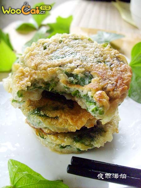 红薯叶也可以煎着吃------扯来的美味:薯叶鸡蛋全麦饼的做法