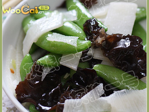 减肥素菜:甜豆木耳炒山药的做法