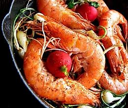 野蒜干锅虾的做法