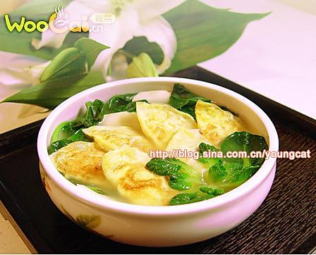 菊花菜烩蛋饺的做法