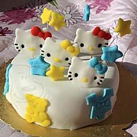 hello kitty猫 造型 翻糖蛋糕+杯子蛋糕的做法图解2