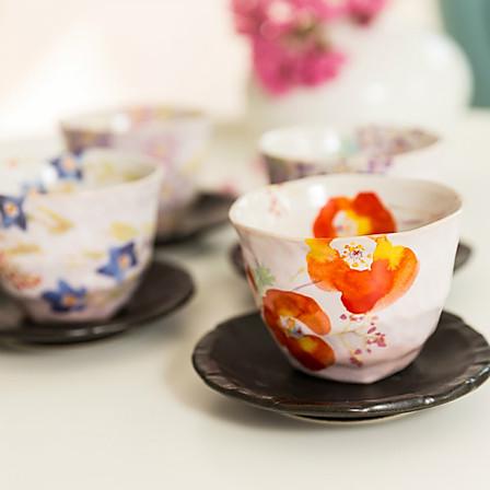 日本AITO 抚松庵华美美浓烧陶瓷茶杯茶托5件套装