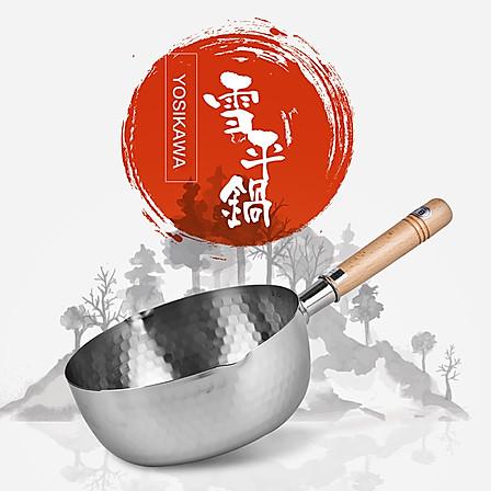 日本进口吉川雪平锅燃气气电磁炉两用不锈钢雪平锅锤目纹木柄18cm