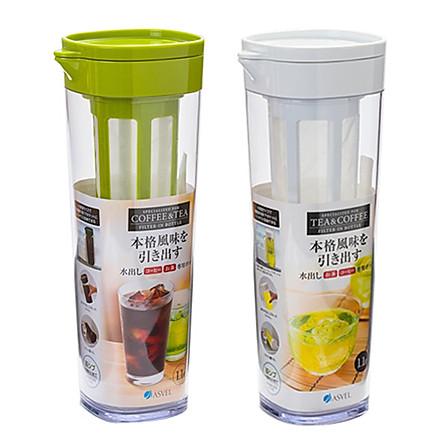 ASVEL|日本带茶滤冷水壶1.1L绿色+送杯刷(四色可选)