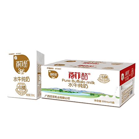 百菲酪 水牛純牛奶200ml*10盒